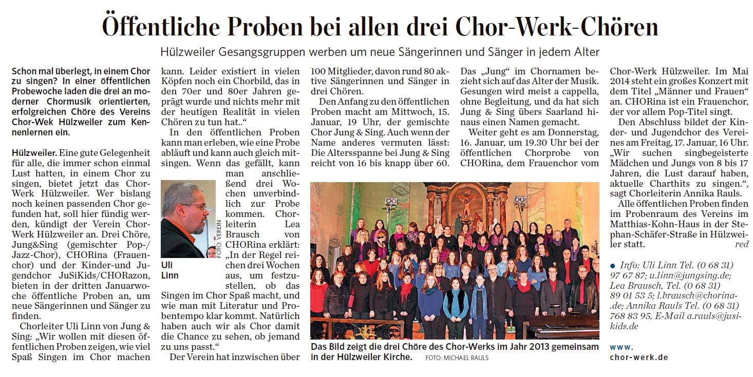 Öffentliche Proben in allen Chor-Werk Chören
