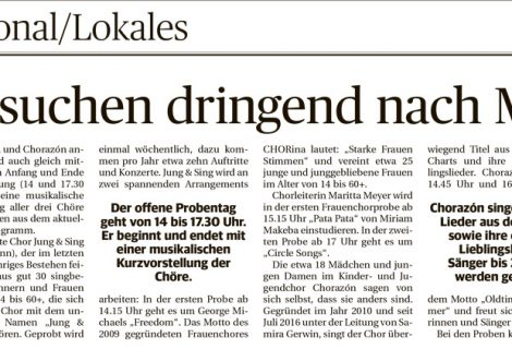 Ankündigung Probentag in der Saarbrücker Zeitung